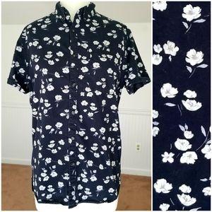 Denim & Flower Ricky Singh Floral Print Shirt Sz M